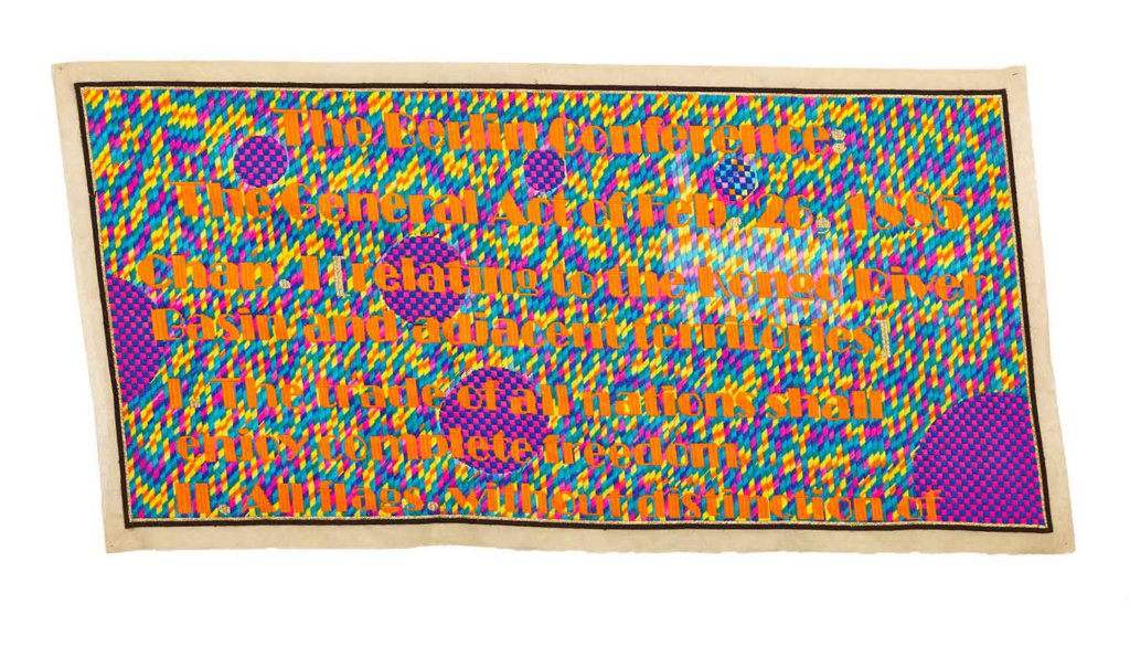 Athi Patra Ruga The Berlin Conference Intervention 1 2015 Wool and thread on tapestry canvas, 1915 x 980
