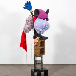 Simphiwe Nzube <em>Untitled</em> 2016 Mixed Media: Pine, duct-tape, found fabric, rubber boot and glove 1480x500x400
