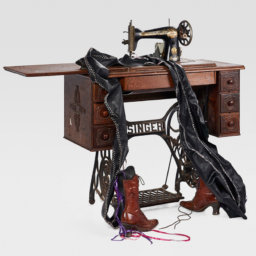 Singer sewing machine, boots, leather, ribbon